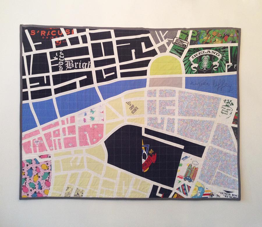 River Liffey Map Quilt